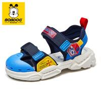 巴布豆男童凉鞋2021夏季时尚女童新款宝宝小童包头防滑休闲沙滩鞋-深蓝红