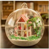 弘达Diy小屋迷你爱琴海 手工拼装玻璃球房子模型创意生日礼物女生