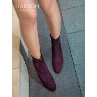 哈森2019冬季新款绒面圆头粗高跟短靴女 时尚弹力瘦瘦靴HA92413