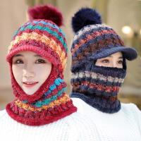 帽子女冬天韩版潮英伦休闲百搭时尚秋冬季针织毛线护脖鸭舌帽