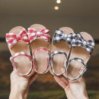 女童公主鞋春夏凉鞋蝴蝶结格子软底平底凉鞋