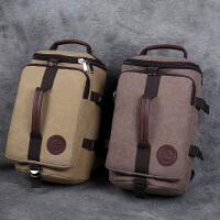 帆布双肩包复古大容量水桶包多功能旅行包男士手提包电脑书包