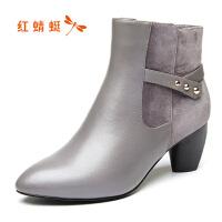 红蜻蜓女鞋秋冬休闲鞋鞋子女女靴子加绒短靴WFC7006