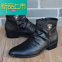 新品上市男靴子马丁靴男英伦高帮皮鞋韩版潮流男士皮靴真皮拉链短靴内增高