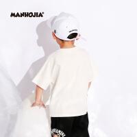 【秒杀价:95元】MHJ漫画家童装男女童夏装儿童短袖印花上衣宽松T恤T