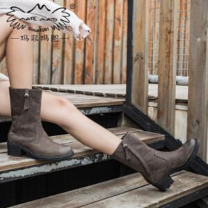 玛菲玛图靴子女2019新款短筒圆头西部靴磨砂牛皮高跟短靴粗跟侧拉链马丁靴X3B-2W