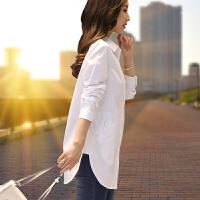 新年特惠打底衫女条纹衬衫女长袖中长款2019秋冬装新款韩版宽松保暖打底衫 5X