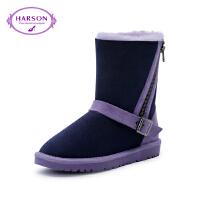 Harson/哈森 冬圆头拼色雪地靴子女羊毛套脚女靴HA66103