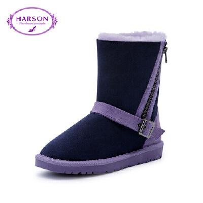 【 限时4折】哈森 冬季羊皮革深口靴子女 粗跟方头中跟后拉链短靴女HA81418
