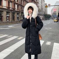 羽绒服长款加厚女韩版修身时尚大毛领服抽带收腰青年学生