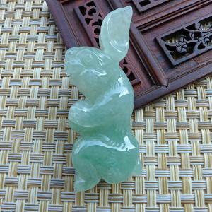 老冰糯种缅甸天然翡翠立体精雕可爱玉兔挂件 配证书BOC-EGH-DFB