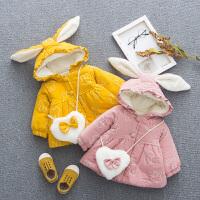 女童冬装2018新款棉袄1一3岁2宝宝加绒加厚棉衣外套
