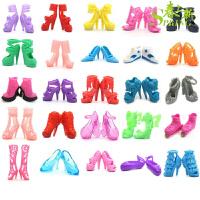 芭比娃娃的衣服和鞋子 娃娃鞋公主家水晶鞋女孩过家家高跟鞋衣服饰品娃娃大裙 12只鞋(6双)送梳子镜子