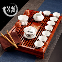 茶具套装陶瓷功夫茶具整套 青花茶杯盖碗茶道实木茶盘茶台