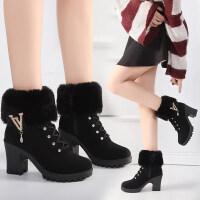 2018新款欧美秋冬季马丁靴女英伦风高跟短靴粗跟妈妈棉鞋加绒女靴