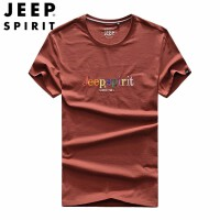 吉普 JEEP 短袖T恤 男士夏季新款青年体恤衫 男帅气纯色潮流半袖上衣 圆领宽松短袖T恤打底衫