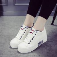 内增高小白鞋女2018新款秋季百搭韩版厚底白色帆布鞋休闲板鞋子女