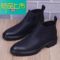 新品上市男士韩版短靴马丁靴子男英伦尖头皮靴内增高帮皮鞋工装靴子潮