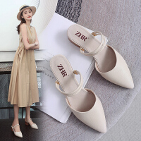 【掌柜推荐】ZHR2019新款女鞋夏季粗跟高跟凉鞋包头半拖鞋外穿女鞋