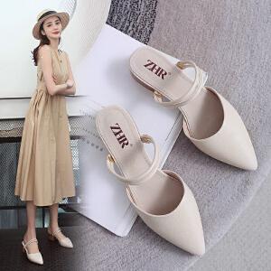 ZHR2019新款女鞋夏季网红穆勒鞋粗跟高跟凉鞋包头半拖鞋外穿女鞋