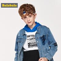 巴拉巴拉男童外套童装中大童新款春季儿童牛仔夹克破洞上衣潮