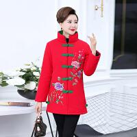 中老年民族风女装保暖棉衣妈妈中长外套老人加厚唐装绣花棉袄 红色 208款 XL 建议90到110斤