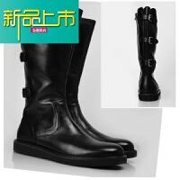 新品上市新款潮流韩版男士长筒靴潮鞋真皮靴牛仔靴马丁靴男鞋搭扣透气男靴