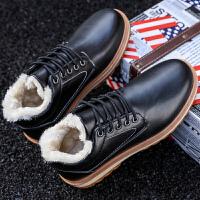 加绒加棉工装鞋潮流学生保暖男鞋冬季百搭英伦板鞋低帮韩版休闲鞋 黑色 D106X
