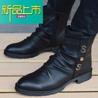新品上市男靴英伦尖头马丁靴男真皮靴子工装靴男士短靴潮高帮韩版男鞋