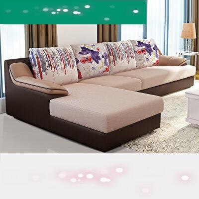 家居沙发皮布沙发小户型经济型沙发组合现代简约沙发73018  3pm 皮布结合;实木内架;布艺可拆洗