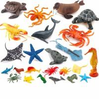小孩子玩具仿真海底海洋生物�游锬P屯婢叽蟀柞��~螃蟹海��海豚���r海豹��~生日�Y物