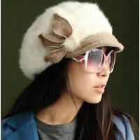 新款个性时尚休闲女士兔毛针织贝雷帽加厚保暖优雅逛街潮韩版花朵明星帽小沿贝盆帽