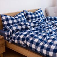 水洗棉四件套全棉纯棉简约纯色学生宿舍被套床单三件套床上用品4日式简约纯色格纹床品套件定制