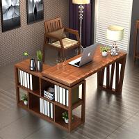 实木书桌 家用台式电脑桌 移动办公组合多功能带书架柜