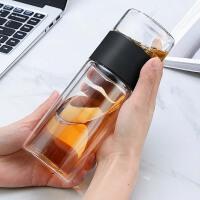 茶水分离泡茶杯男女双层过滤玻璃杯创意便携随手杯带茶隔水杯