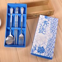 结婚回礼小礼品 实用小礼物不锈钢餐具套装 青花瓷叉勺筷 青花瓷叉勺筷1盒
