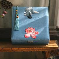 中式刺绣复古创意首饰盒带锁结婚礼品饰品盒小饰品收纳盒