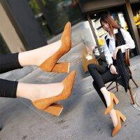 高跟鞋女中跟3-5cm粗跟大码41磨砂工作鞋职业百搭女士单鞋小码33