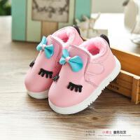 秋冬女童皮鞋公主鞋加绒棉鞋女宝宝雪地靴婴儿软底学步鞋0-1-3岁2