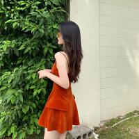 2019新款夏季复古天鹅绒吊带裙度假风气质连衣裙高腰V领短裙子女 南瓜橘