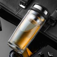 玻璃杯双层过滤泡茶家用带盖加厚隔热杯子便携车载随手杯男士水杯