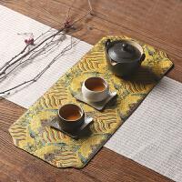 复古中式刺绣茶席棉麻布艺功夫茶具茶道杯垫禅意泡茶垫