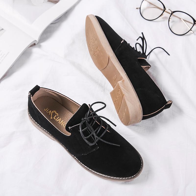 布洛克鞋英伦风女鞋秋冬磨砂小皮鞋女平底单鞋系带休闲学生鞋复古
