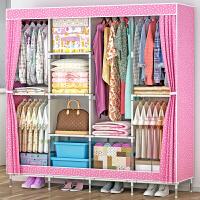 蜗家大号布衣柜 钢管加粗加固简易衣柜防尘组装折叠组合布衣橱1331