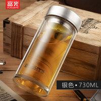 玻璃杯双层便携男士过滤泡茶水杯加厚耐热带盖茶杯大容量杯子 抖音
