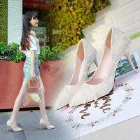 仙女高跟鞋女细跟9cm夜店公主单鞋浅口小码优雅宴会白色性感韩版