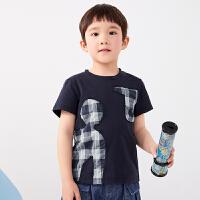 【秒杀价:135元】马拉丁童装男童T恤2020夏装新款格子拼接图案宽松套头短袖