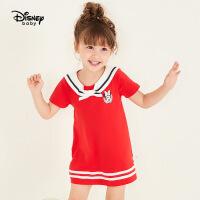 【2件3折价:77.7】迪士尼童装女童时尚海军领短袖连衣裙宝宝儿童裙子2020夏装新款