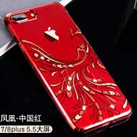 苹果8plus手机壳透明带钻7plus中国红色8p女款全包防摔iphone7个性创意iphone 【iPhone7/8