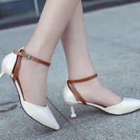高跟鞋少女一字扣中空性感浅口百搭细跟工作职业米白色单鞋5cm皮
